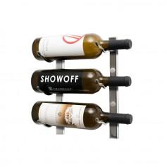 Porte-bouteilles mural en métal finition Chrome naturel 3 à 9 bouteilles - VintageView Series 1
